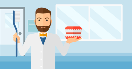 polyclinic: A hipster man with a dental jaw model and a toothbrush on a polyclinic background vector flat design illustration. Horizontal layout. Illustration