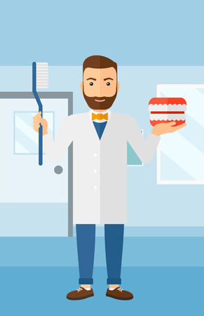 polyclinic: A hipster man with a dental jaw model and a toothbrush on a polyclinic background vector flat design illustration. Vertical layout.
