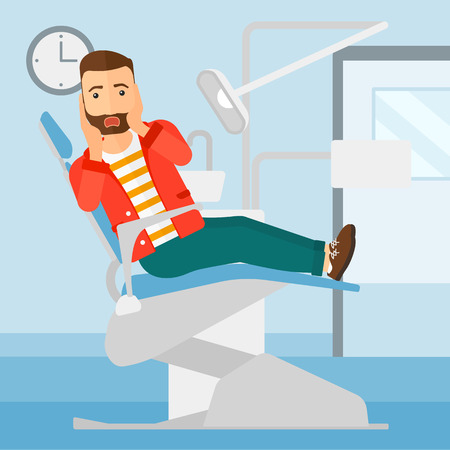 A frightened hipster man with the beard sitting in chair in dental office vector flat design illustration. Square layout.
