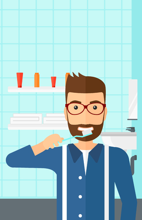 condo: A hipster man with the beard brushing his teeth with a toothbrush in bathroom vector flat design illustration. Vertical layout.