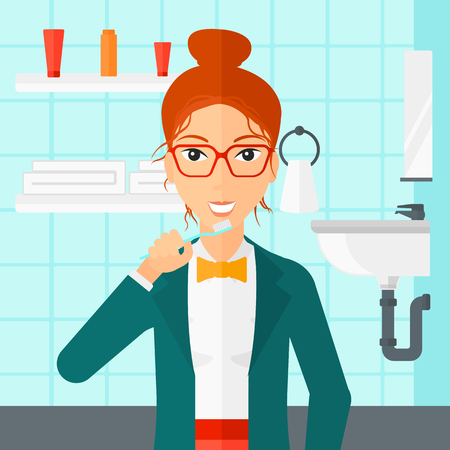 dentalcare: A woman brushing her teeth with a toothbrush in bathroom vector flat design illustration. Square layout.