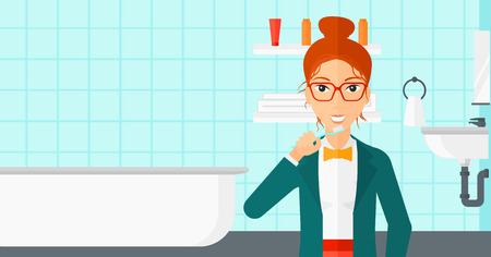 dentalcare: A woman brushing her teeth with a toothbrush in bathroom vector flat design illustration. Horizontal layout.