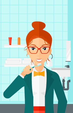condo: A woman brushing her teeth with a toothbrush in bathroom vector flat design illustration. Vertical layout.
