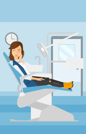 tooth pain: A woman sitting in chair in dental office and suffering from tooth pain vector flat design illustration. Vertical layout.