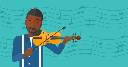 soloist: An african-american man playing violin on a blue background with music notes vector flat design illustration. Horizontal layout.