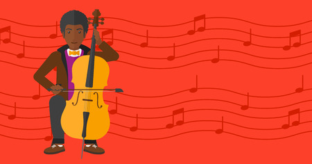 fiddlestick: An african-american man playing cello on a red background with music notes vector flat design illustration. Horizontal layout. Illustration