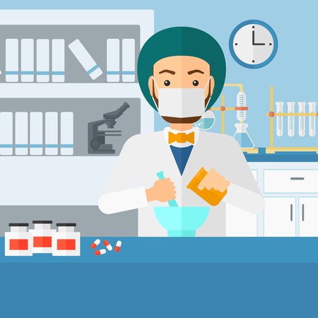 druggist: A hipster man with the beard preparing medicine on the background of laboratory vector flat design illustration. Square layout. Illustration
