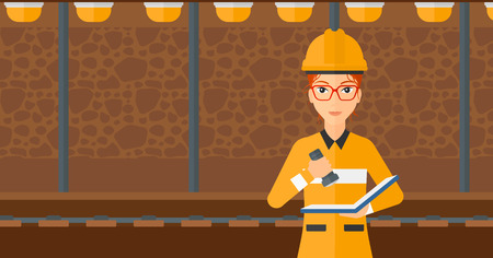 mine lamp: A woman checking a paper plan with the flashlight on the background of mining tunnel with lights and rails vector flat design illustration. Horizontal layout. Illustration