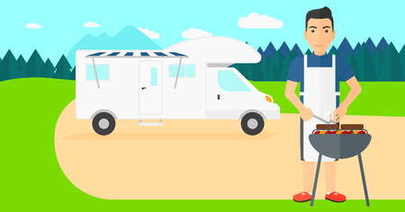 A man preparing barbecue  on the background of motorhome in the forest vector flat design illustration. Horizontal layout.