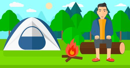 A man sitting on a log near the fire on the background of camping site with tent vector flat design illustration. Horizontal layout.