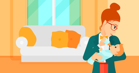 family eating: A woman feeding a little baby with a milk bottle on the background of living room vector flat design illustration. Horizontal layout.