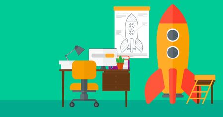 Background of workspace with business start-up rocket vector flat design illustration. Horizontal layout.