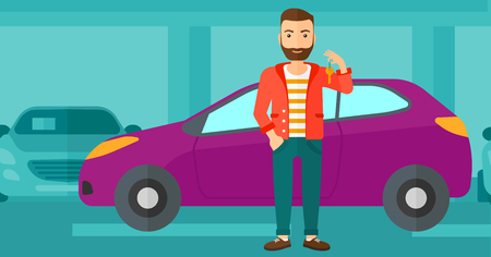 A hipster man with the beard holding keys from his new car on the background of car shop vector flat design illustration. Horizontal layout. Vettoriali