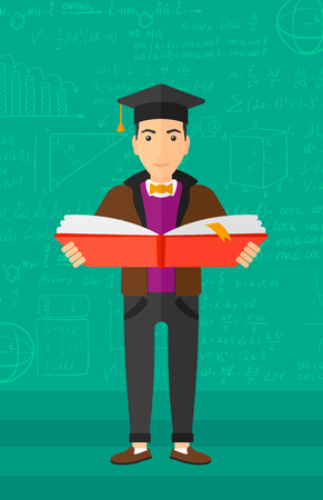 A man in graduation cap with an open book in hands on a background of green blackboard with mathematical equations vector flat design illustration. Vertical layout. 矢量图像