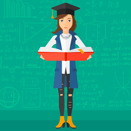 A woman in graduation cap with an open book in hands on a background of green blackboard with mathematical equations vector flat design illustration. Square layout.