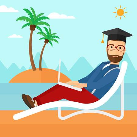 lying in: A hipster man in graduation cap lying in chaise long with laptop on the beach vector flat design illustration. Square layout. Illustration