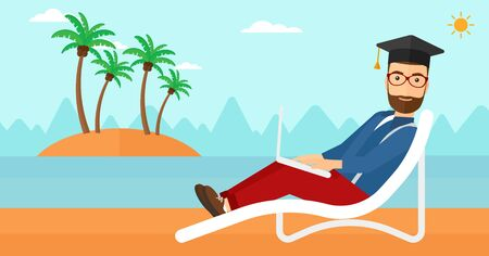 A hipster man in graduation cap lying in chaise long with laptop on the beach vector flat design illustration. Horizontal layout.
