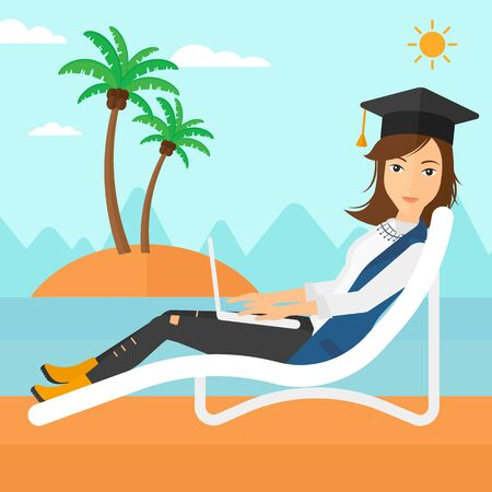 A woman in graduation cap lying in chaise long with laptop on the beach vector flat design illustration. Square layout. Vectores
