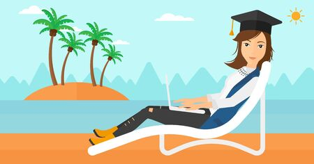 cartoon graduation: A woman in graduation cap lying in chaise long with laptop on the beach vector flat design illustration. Horizontal layout. Illustration