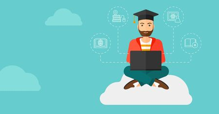 student study: A hipster man with the beard sitting on the cloud with a laptop and some icons connected to the laptop on the background of blue sky vector flat design illustration. Horizontal layout.