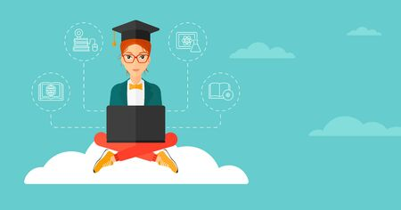 woman laptop: A woman sitting on the cloud with a laptop and some icons connected to the laptop on the background of blue sky vector flat design illustration. Horizontal layout. Illustration