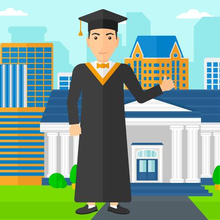 graduacion caricatura: Un hombre en la capa y el sombrero que muestra el pulgar encima de la muestra en el fondo de la educaci�n Vector del edificio de la ilustraci�n dise�o plano. de planta cuadrada.