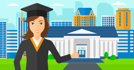 A woman in cloak and hat showing thumb up sign on the background of educational building vector flat design illustration. Horizontal layout.