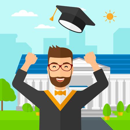 幸せな大学院教育の背景に彼の帽子を投げて建物ベクトル平らな設計図です。正方形のレイアウト。