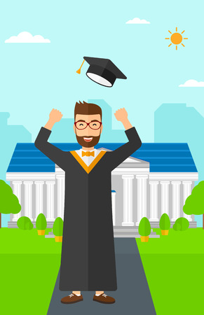 qualified: Happy graduate throwing up his hat on the background of educational building vector flat design illustration. Vertical layout.