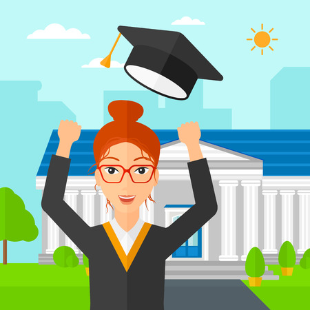 cartoon school girl: A happy woman throwing up her hat on the background of educational building vector flat design illustration. Square layout. Illustration