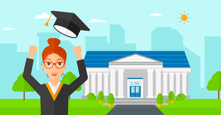 cartoon school girl: A happy woman throwing up her hat on the background of educational building vector flat design illustration. Horizontal layout.