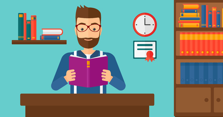 reading room: A hipster man with the beard reading a book on the background of room vector flat design illustration. Horizontal layout. Illustration