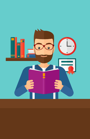 reading room: A hipster man with the beard reading a book on the background of room vector flat design illustration. Vertical layout.