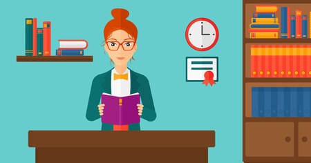 cartoon school girl: A woman reading a book on the background of room vector flat design illustration. Horizontal layout. Illustration