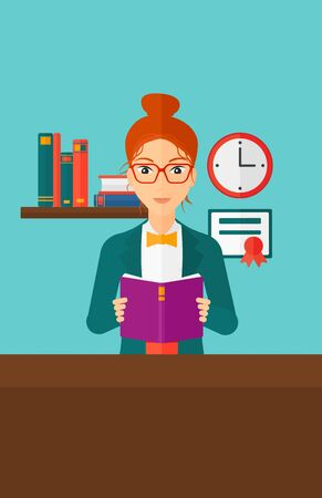 cartoon school girl: A woman reading a book on the background of room vector flat design illustration. Vertical layout. Illustration