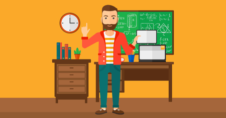 man pointing up: A hipster man with the beard standing with a tablet computer and pointing his forefinger up on the background of classroom vector flat design illustration. Horizontal layout. Illustration