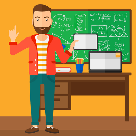 man pointing up: A hipster man with the beard standing with a tablet computer and pointing his forefinger up on the background of classroom vector flat design illustration. Square layout.