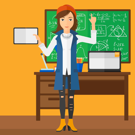 woman pointing up: A woman standing with a tablet computer and pointing her forefinger up on the background of classroom vector flat design illustration. Square layout. Illustration