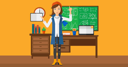 A woman standing with a tablet computer and pointing her forefinger up on the background of classroom vector flat design illustration. Horizontal layout. Illustration