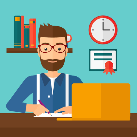 taking notes: A hipster man with the beard sitting in front of laptop and taking some notes on the background of room vector flat design illustration. Square layout. Illustration