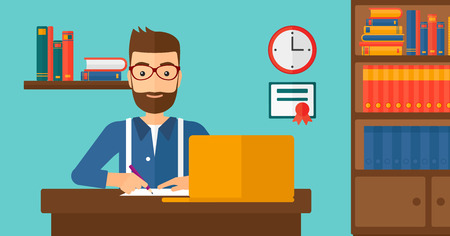 A hipster man with the beard sitting in front of laptop and taking some notes on the background of room vector flat design illustration. Horizontal layout.