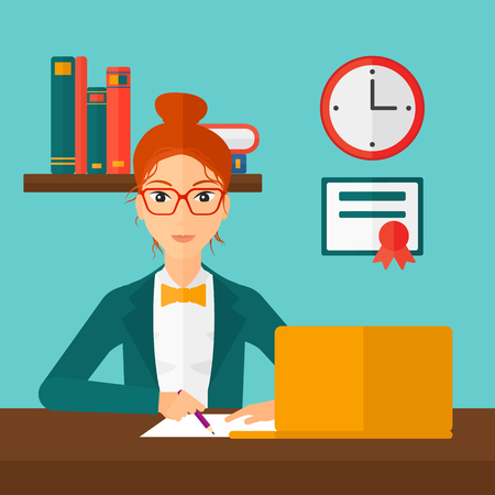 A woman sitting in front of laptop and taking some notes on the background of room vector flat design illustration. Square layout.