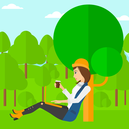 woman using laptop: A woman with cup of coffee studying in park using a laptop vector flat design illustration. Square layout.