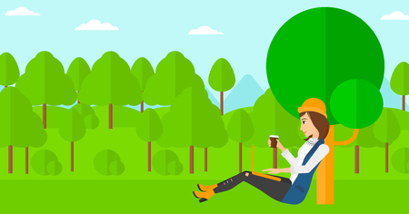 woman using laptop: A woman with cup of coffee studying in park using a laptop vector flat design illustration. Horizontal layout. Illustration
