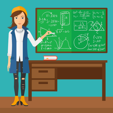 A woman standing in classroom in front of the blackboard with a piece of chalk in her hand vector flat design illustration. Square layout.