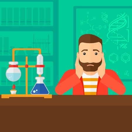student study: A hipster man with the beard clutching his head on the background of chemistry laboratory vector flat design illustration. Square layout.
