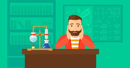 to a scientist: A hipster man with the beard clutching his head on the background of chemistry laboratory vector flat design illustration. Horizontal layout. Illustration