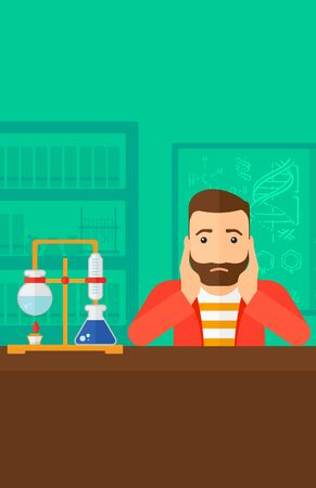 student study: A hipster man with the beard clutching his head on the background of chemistry laboratory vector flat design illustration. Vertical layout.