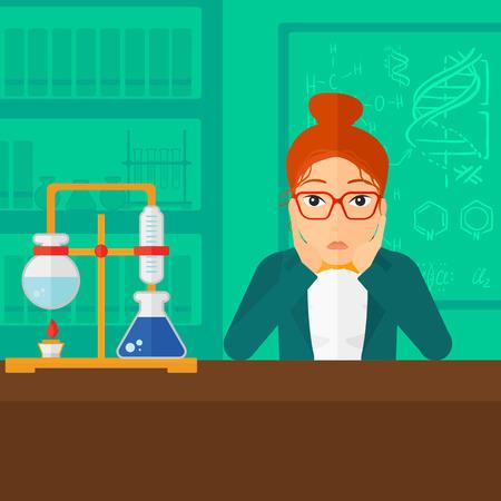Een vrouw clutching haar hoofd op de achtergrond van de chemie laboratorium vector platte ontwerp illustratie. Vierkante lay-out. Vector Illustratie