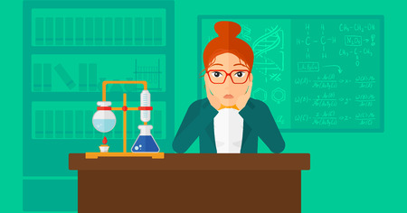 despair: A woman in despair clutching her head on the background of chemistry laboratory vector flat design illustration. Horizontal layout.